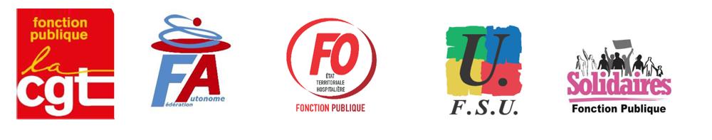 Logos CGT, FA, FO, FSU, Solidaires